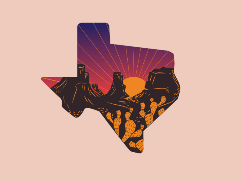 Earth Day: Texas Sunset cactus nopales sunset illustration happy camper camping big bend park national park texas pride texas