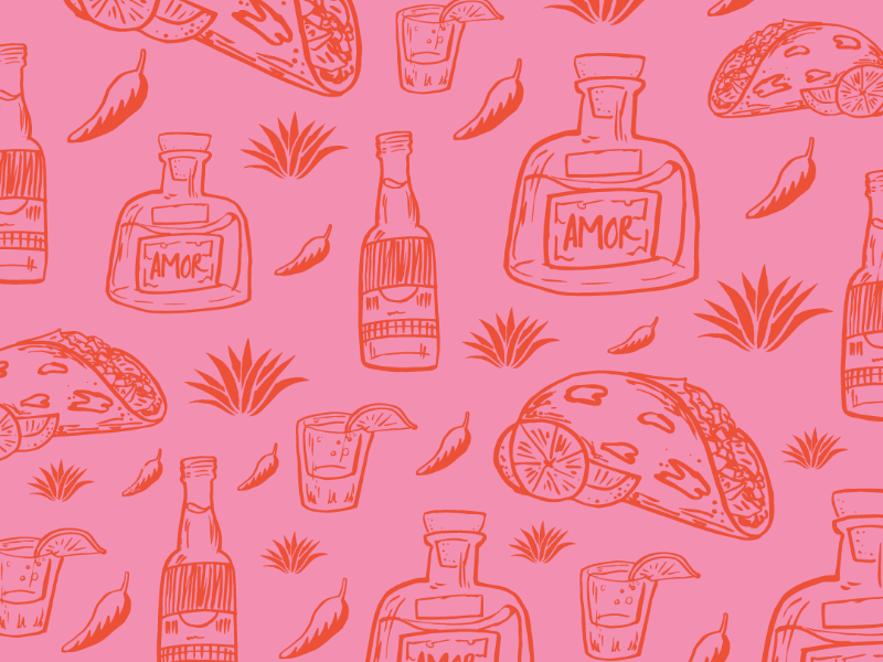 Tacos, Tequila, y Cerveza illustration pattern shots tacos taco craft beer succulent agave tequila