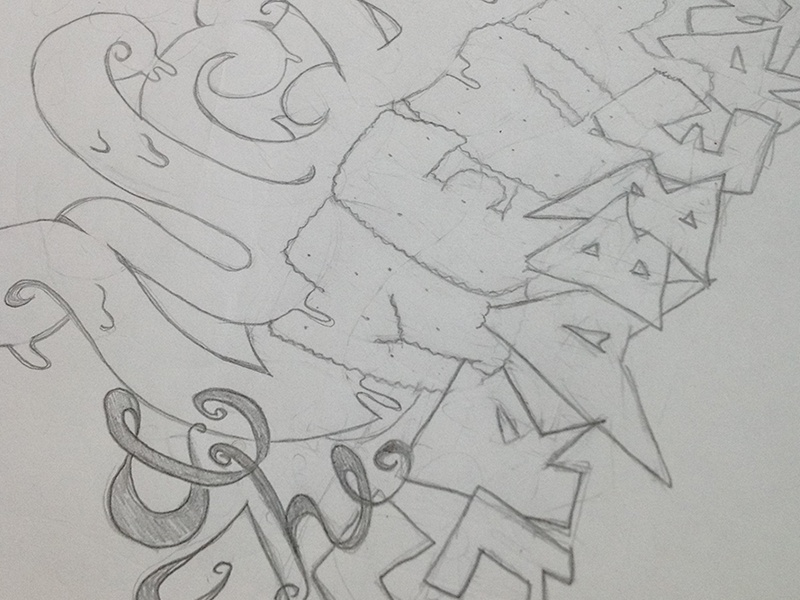 Juicy Lucy & The Meat Grabbers illustration concept typography sketch