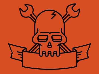 Skull And Wrench line art skull banner tools illustration concept logo brand