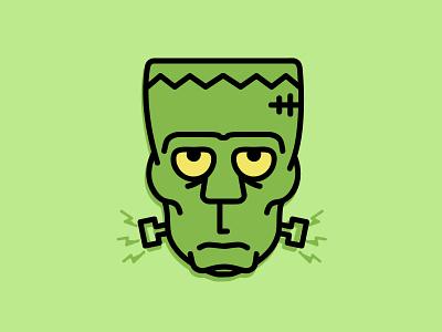 Frankenstein - two tone line art frankenstein illustration concept