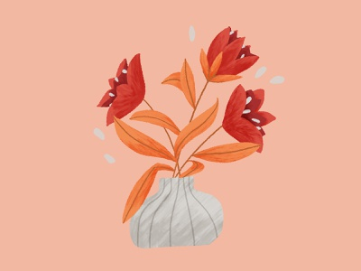 Flowers illustration vase flowers