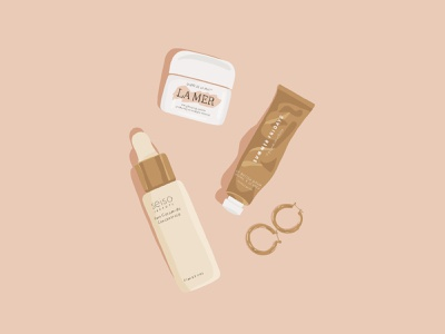 Beauty products skincare beauty illustration