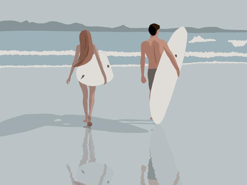 Surfing surfing couple beach