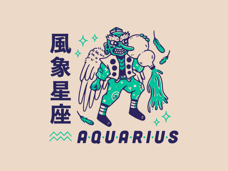 Horoscope Series #9: Aquarius feather wind illustration gourd tengu zodiac sign zodiac horoscope sign horoscope aquarius