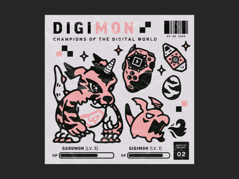 Nostalgia Series #2: Digimon creature monster poster plastic wrap nostalgia illustration childhood egg digivice digimon barcode