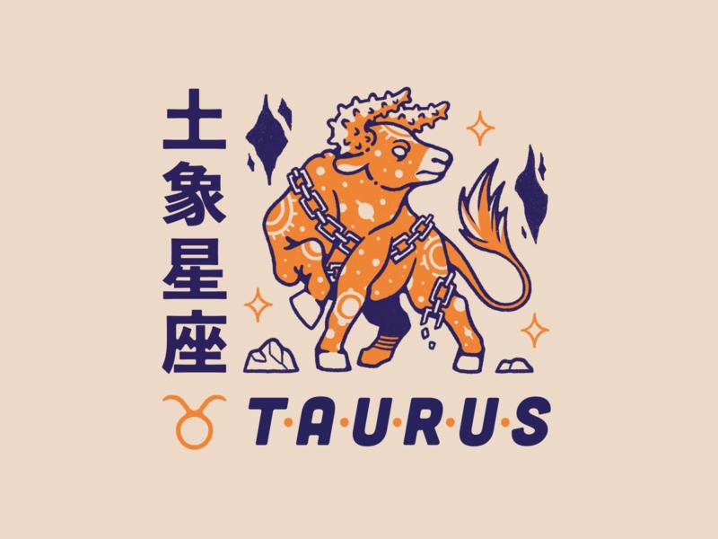 Horoscope Series #4: Taurus zodiac sign taurus orange illustration horoscopes horoscope graphic design earth digital art design bull blue animal