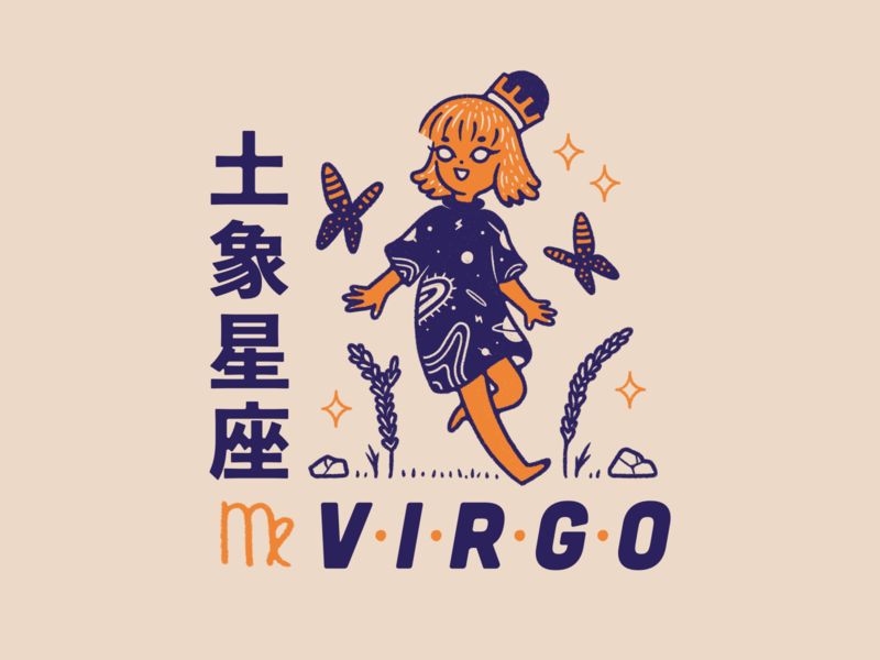 Horoscope Series #5: Virgo zodiac sign virgo orange illustration horoscopes horoscope graphic designer girl earth digital art blue animal