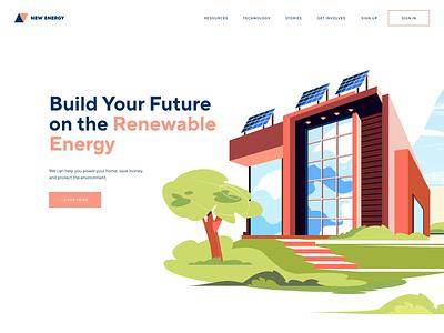 Renewable Energy Landing Page shakuro wind turbines solar power renewable energy animation ux ui transitions illustration web design illustrations landing page