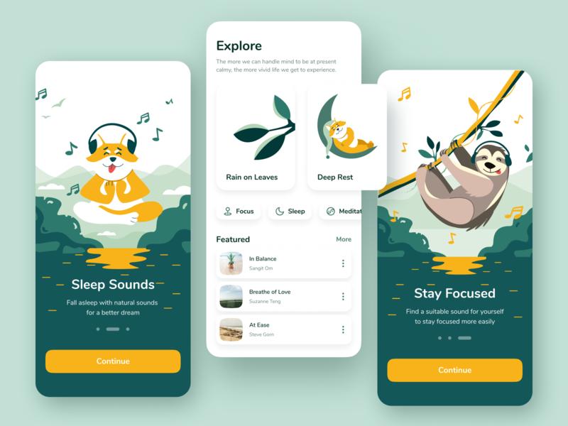 Ambient Sounds App shakuro ui ux mobile illustration app clean meditation onboarding nature sound app mobile illustration mobile app user interface mobile ui color