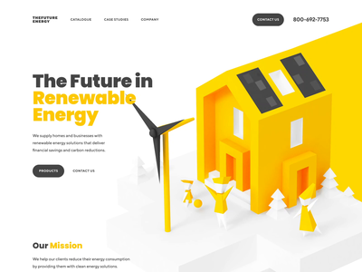 Renewable Energy Company 3D Animation illustrations landing page color ux ui user interface design wind turbines solar power renewable energy illustraion web design animation 3d animation shakuro