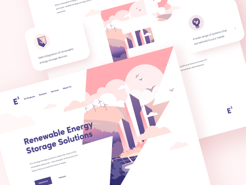Renewable Energy Storage Solutions shakuro graphic design environmental solar power wind turbines landing page illustrations ux ui green energy energy storage renewable energy web design website