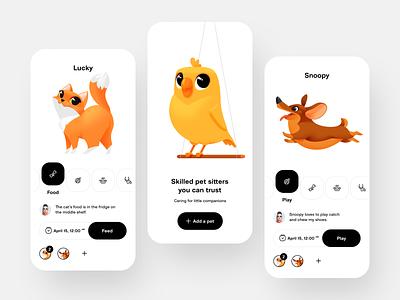 Pet Care App design illustrations ui design pet app dog cat clean mobile app pet care pet animal application mobile vector concept shakuro illustration app ux ui
