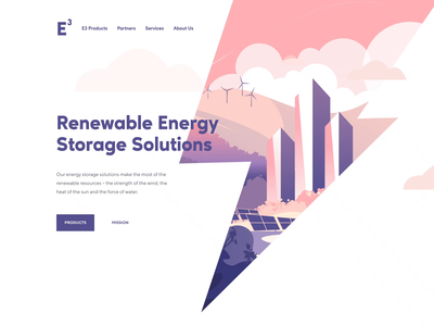Energy Storage Landing Page Animation illustraion transitions motion design web design website renewable energy green energy illustrations landing page wind turbine solar energy environmental graphic design ux ui concept design shakuro animation