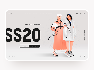 Fashion Store Website Design brand women shop estore homepage website design store clothing fashion ecommerce fashion illustration boutique design concept website shakuro illustration web ux ui