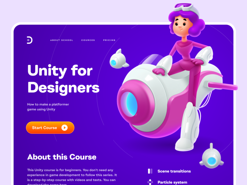 Cosmogirl web design study landing page learning platform girl cosmic girl games courses education home page design website concept shakuro illustration web ux ui