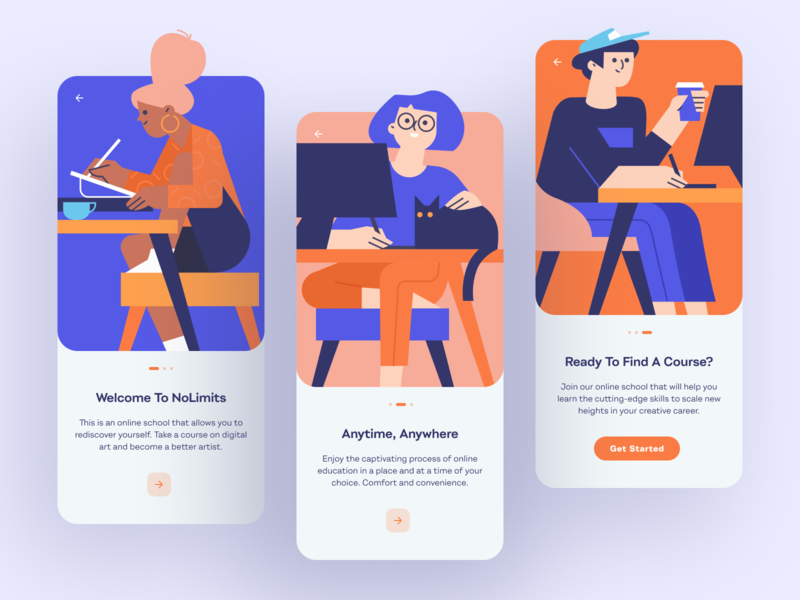 Online School App Onboarding student courses learning platform school online course mobile mobile app intellectual study education app design educational online school illustrations illustration shakuro ios ux ui app