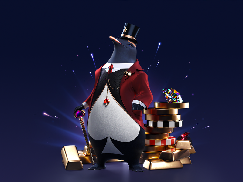 Lord Ping Illustration identity brand 3d character penguin casino online casino ping brand design branding brand identity character illustration character 3d vector design illustration shakuro
