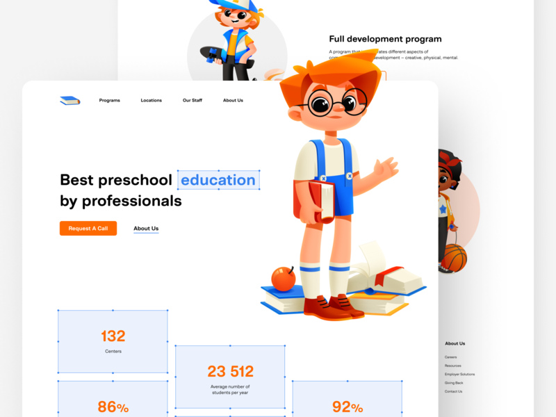 Child Development Center user interface design study kids educational child development center child platform landing web design website design landing page home page illustration concept website design web shakuro ux ui