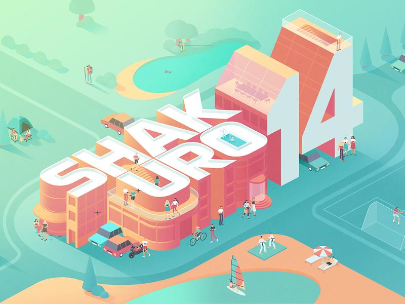 14 Years of Shakuro vector celebrating development design card illustration birthday shakuro