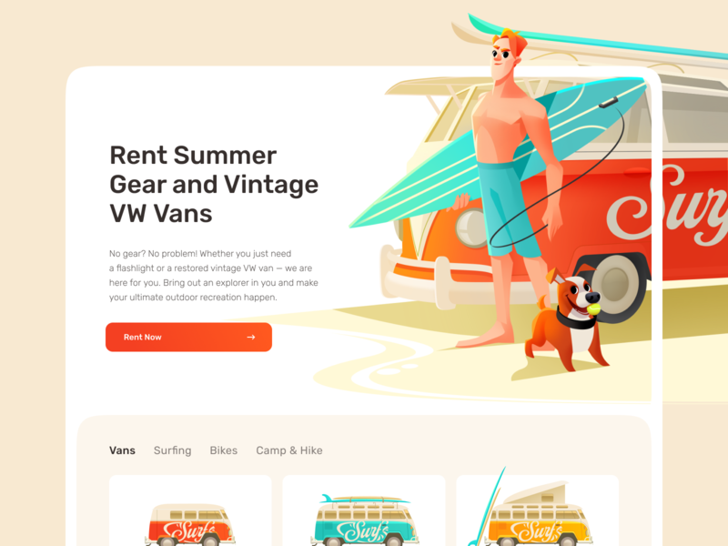 Website For the Summer Gear Rental App user interface design platform welcome screen landing design landing page landing rental app summer home page interface rental car rental web design illustration website design web shakuro ux ui
