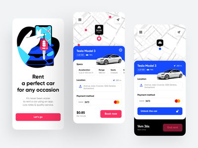 Car Rental App application car rent minimal map car car sharing clean ui car rental app car rental rental app app design home page mobile design illustration ios shakuro app ux ui