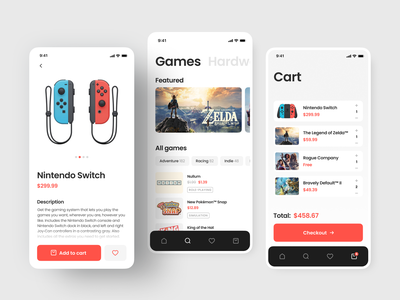 Nintendo eShop App e-commerce app user interface games application app designer app design ios product page nintendo switch mobile interface interface game nintendo mobile design shakuro app ux ui