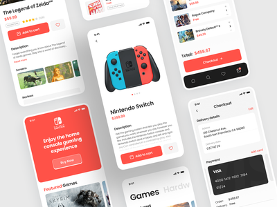 Nintendo Switch Store product page mobile ui interface user interface app design application mobile app gamestore store nintendo games eshop ios home page mobile design shakuro app ux ui