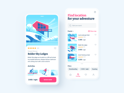 Winter Travel App user inteface mobile interface winter activities illustration art illustrator art app design travel app design travel app interface home page mobile illustration design ios shakuro app ux ui