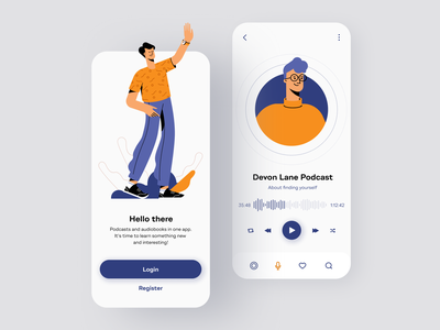 Podcast And Audiobook App user user interface mobile interface listen podcast app art design art designer app design audiobook podcast interface mobile illustration design ios shakuro app ux ui