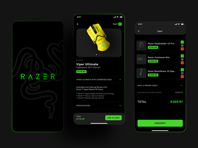 Razer App Cart Concept ios apps product page ecommerce user interface application game app design mobile app gamers brand razer interface concept mobile design ios shakuro app ux ui