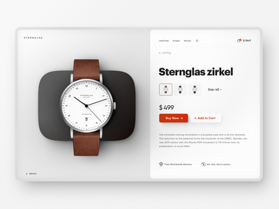 Sternglas: E-Commerce Product Page shop website design dashboard platform user interface page design product page design product page e-commerce website e-commerce web design interface home page concept website web design shakuro ui ux