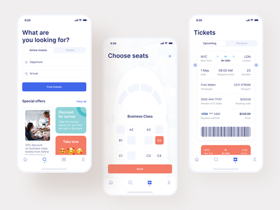 Airline App Design airliner adventure airlines figma mobile ui application ticket app ticket trip airline app airline app design interface concept mobile design app shakuro ux ui