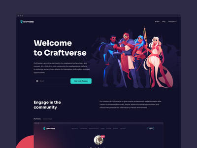 Craftverse Website Design color platform graphic vector illustration ui design hobby community user interface cosplayers cosplay web design home page interface website design web shakuro ux ui