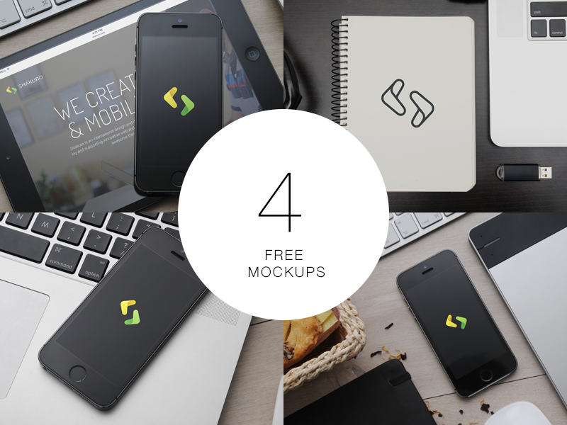 4 Free Mockups mockup iphone notebook wacom ios photo ipad psd free