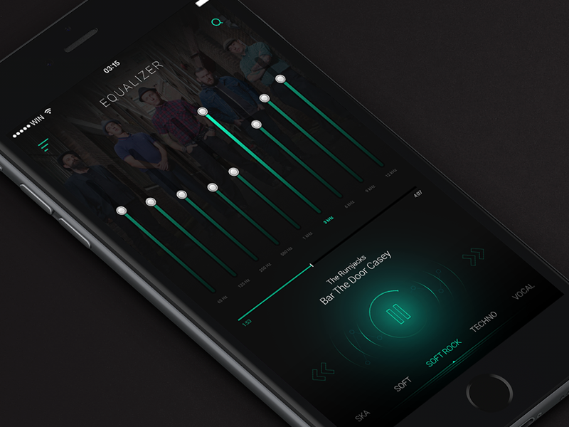 Equalizer by Shakuro ios9 ios iphone green dark flat ux ui shakuro equalizer music app