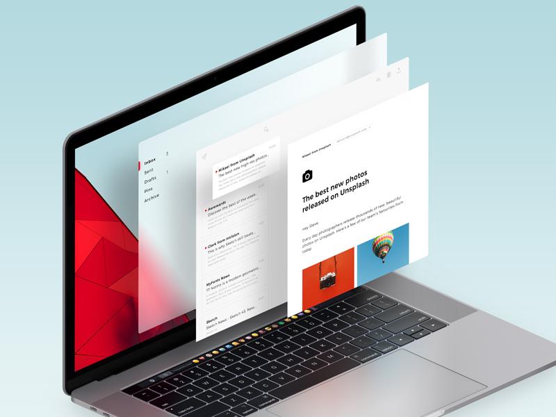 Fluent Design free microsoft design fluent mail inbox application sketch interface mac ux ui