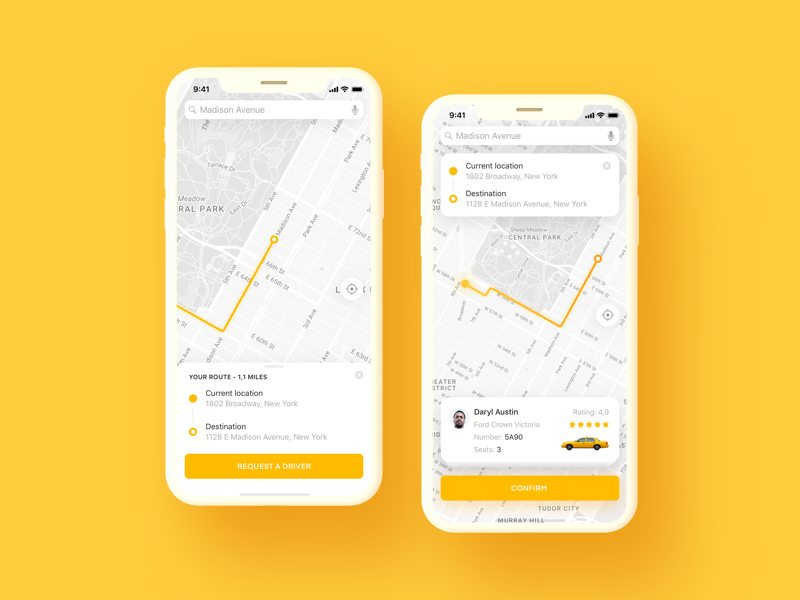 Taxi App Ui place pin location map iphone x iphone ios car app taxi