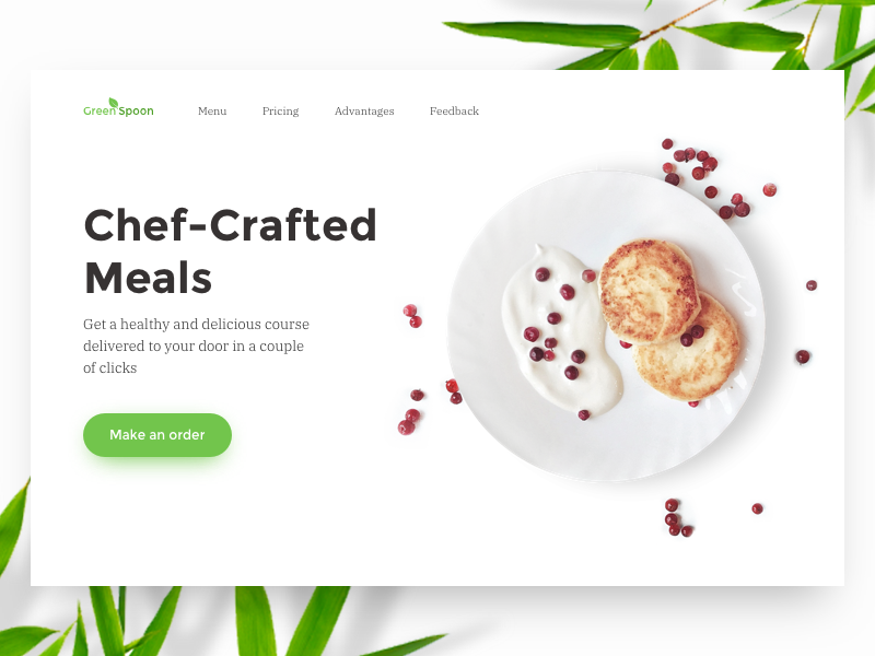 Meal Service Home Page meal concept home page ux ui nutrition minimalistic clean order landing web food