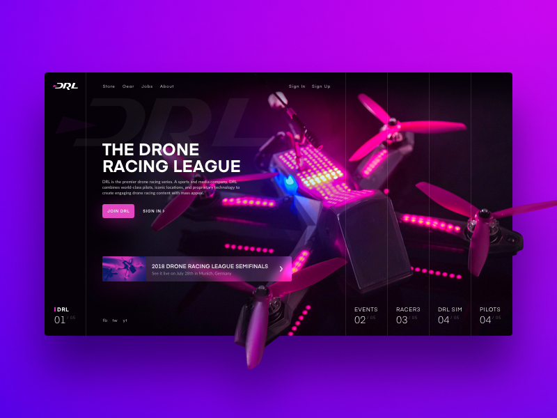 Drone Racing League Redesign Concept flying drone racing website colour gradient concept home page landing page ux ui web