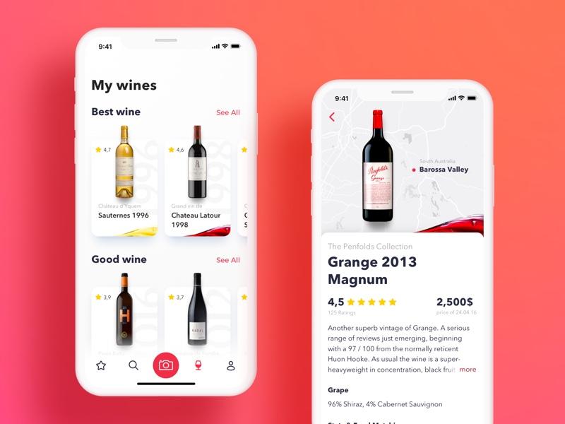 Wine Connoisseur App Concept concept bottle ux ui sommelier wine apple iphone x iphone ios app