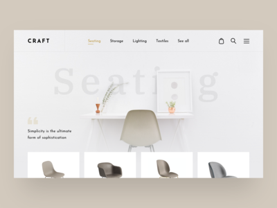 CRAFT Concept Store Sections store web web design website ui design ux ui layout seating catalog product product page interior interface home page furniture shop furniture fashion store fashion e-commerce