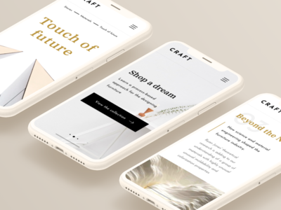 CRAFT Furniture Responsive Concept shop store interface iphone xs iphone x iphone e-commerce ux ui concept furniture device ios adaptive website web responsive