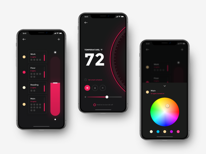 Smart Home App Controls Lighting And Thermostat app concept app design user interface design color picker home app lighting thermostat control lights control security app iphone xr iphone xs iphone x ios app ux ui surveillance smart light smart conditioning smart home