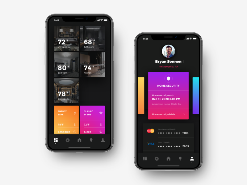 Smart Home App Thermostat And Owner Profile smart home thermostat profile page home app ui ux user interface design ios app ios app profile temperature room scene thermometer temperature control security smart house security app home control smart conditioning iphone xs xr x