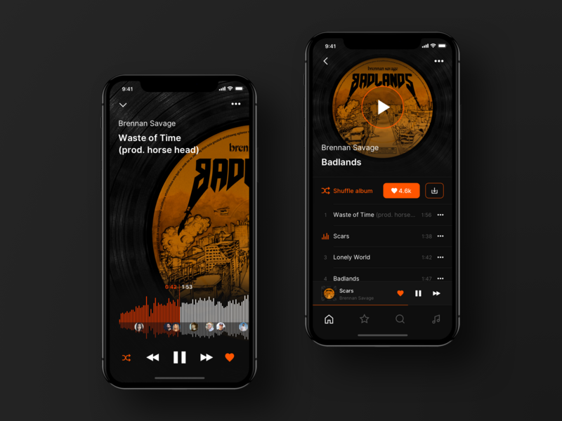 Soundcloud Music App Redesign ui ux ios music app music player sound cloud soundcloud apple music redesign concept iphone x ios app iphone xs yandex music mode picker play pause album page song ui redesign user interface design