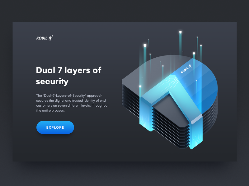 Digital Data Security Illustration protection crypto data center web home page web illustration ui branding identity illustration design icon business illustration system layers kobil gradient illustration vector security art