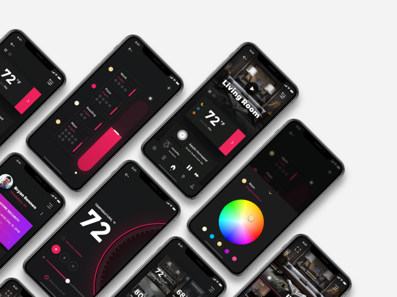 Smart Home Concept App home system home control icon interaction future future app ui ux design concept user interface design smart house smart home iphone xs xr iphone x ios mobile app home app app