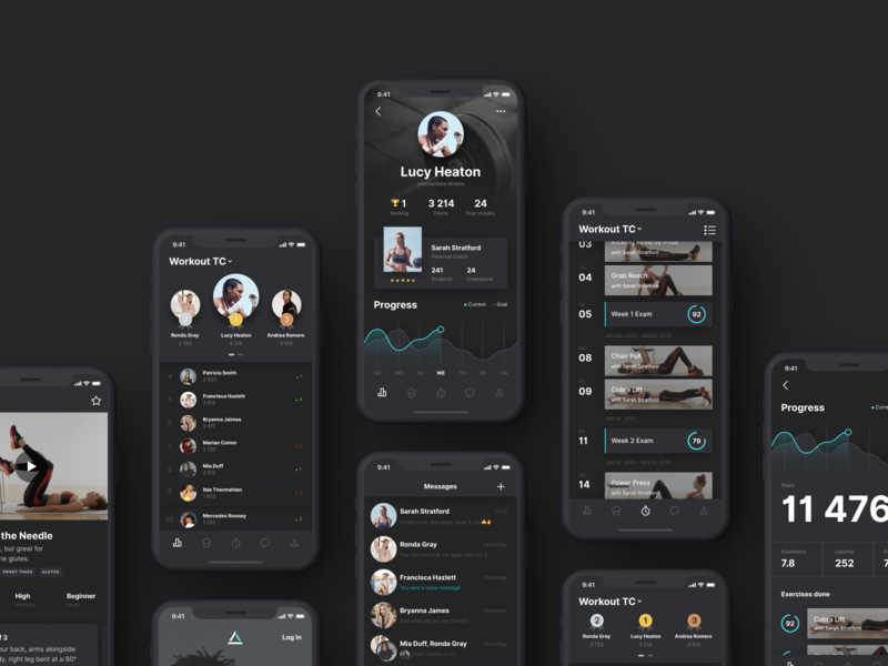 Fit-In-Turn App Concept Screens workout user interface design ux ui training tracking sports app sport profile nutrition iphone xs xr iphone ios fitness fit app figma design concept app activity