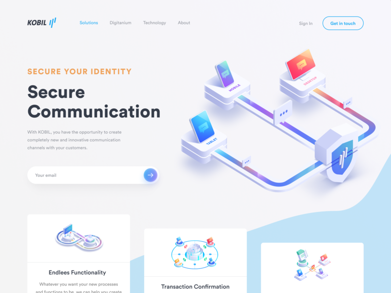 Communication Security Web Page mobile web ux ui tablet security system logo layers landing page illustrator illustration identity icon home page desktop design data protection branding art app